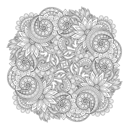 Vector Monochrome Floral Background. Hand Drawn Ornament with Flowers. Template for Greeting Card Illustration