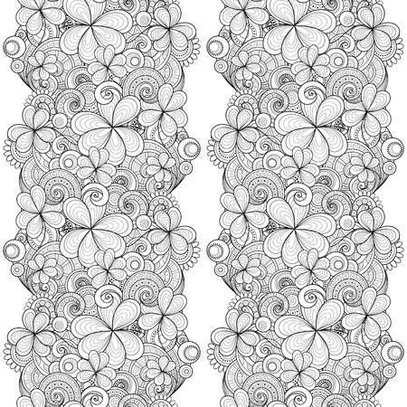 white party: Vector Seamless Monochrome Floral Pattern with Decorative Clover and Coins. Hand Drawn Saint Patricks Day Holiday Texture. Paisley Garden Style Illustration