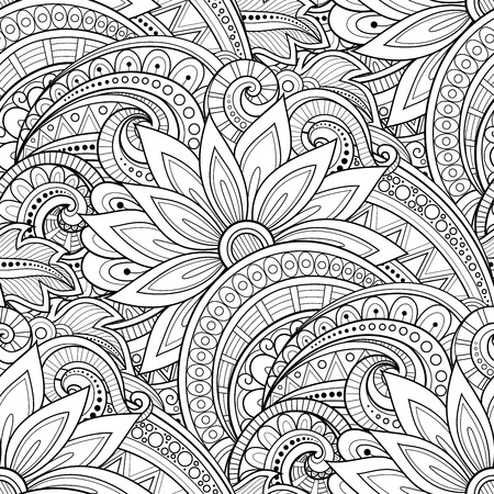 Vector Seamless Monochrome Floral Pattern. Hand Drawn Floral Texture, Decorative Flowers, Coloring Book Çizim