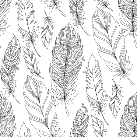 Vector Seamless Monochrome Pattern with Doodle Feathers. Boho Style Romantic Collection