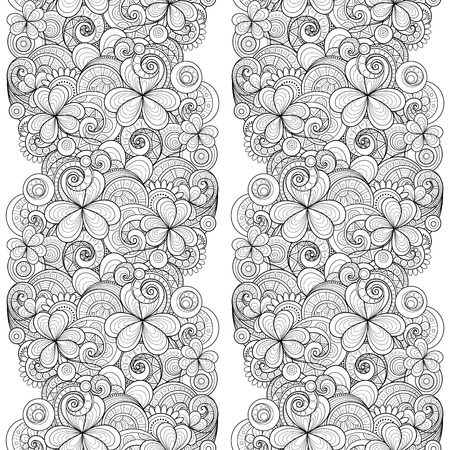 patrik day: Vector Seamless Monochrome Floral Pattern with Decorative Clover and Coins. Hand Drawn Saint Patricks Day Holiday Texture. Paisley Garden Style Illustration