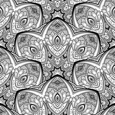 mendi: Vector Seamless Monochrome Ornate Pattern. Hand Drawn Mandala Texture, Vintage Indian Style