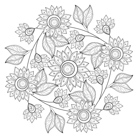Vector Monochrome Floral Background. Hand Drawn Ornament with Flowers. Template for Greeting Card Vettoriali