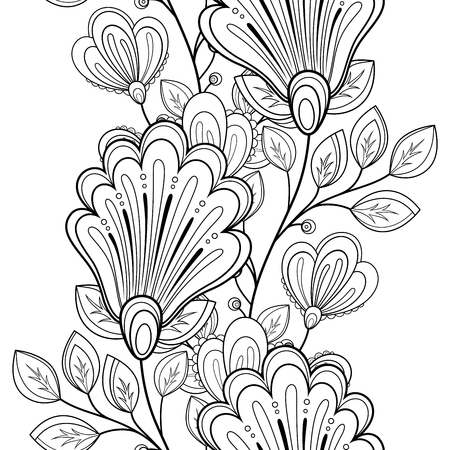 black branch: Vector Seamless Monochrome Floral Pattern. Hand Drawn Floral Texture, Decorative Flowers, Coloring Book Illustration