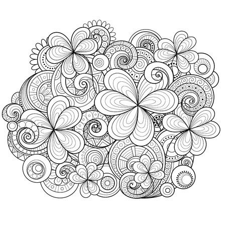 Dibujado A Mano Trébol De Cuatro Hojas Para Colorear Páginas Para ...