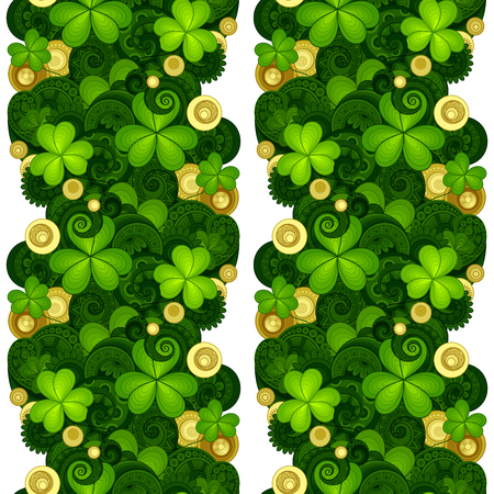 patrik: Vector Seamless Floral Pattern with Decorative Clover and Gold Coins. Hand Drawn Saint Patricks Day Holiday Texture. Colorful Paisley Garden Style