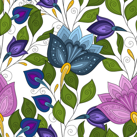 Vector Seamless Floral Pattern. Hand Drawn Texture with Flowers, Paisley Garden Style