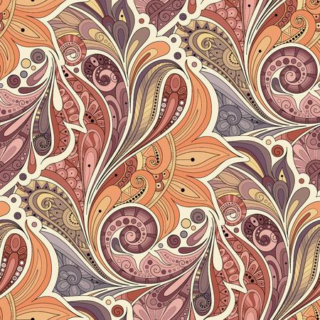 Modelo inconsútil del vector floral. Dibujado mano de la textura con las flores, Paisley Jardín Estilo