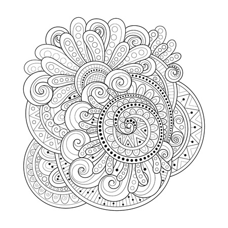 Vector Monochrome Floral Background. Hand Drawn Ornament with Flowers. Template for Greeting Card Ilustrace