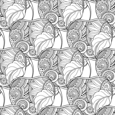 Vector Seamless Monochrome Fruit Pattern. Hand Drawn Decorative Apple