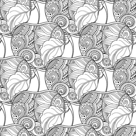 Vector Seamless Monochrome Fruit Pattern. Hand Drawn Decorative Apple