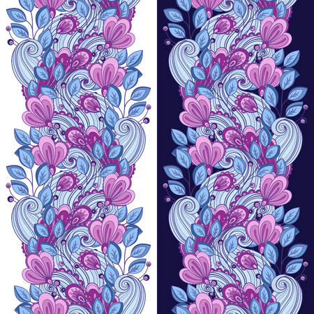 garden flowers: Vector Seamless Floral Pattern. Hand Drawn Texture with Flowers, Paisley Garden Style
