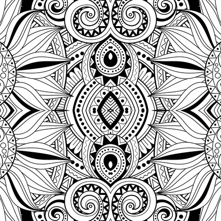 abstract art background: Vector Seamless Abstract Black and White Tribal Pattern. Hand Drawn Ethnic Texture, Flight of Imagination