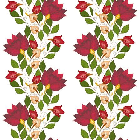 Vector Nahtlose Blumenmuster. Hand gezeichnet Textur mit Blumen, Paisley-Garten-Art Vektorgrafik