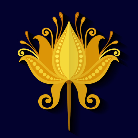 Vector Beautiful Colored Flower, Floral Design Element in Flat Style Vector Illustration