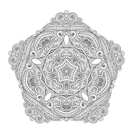 mendi: Vector Beautiful Deco Monochrome Contour Star, Patterned Design Element. Original Mandala with 5 Corners. Exotic Sea Fauna