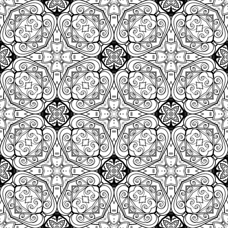 Vector Seamless Vintage Black and White Lace Pattern. Hand Drawn Tile Texture, Ethnic Ornament Imagens - 56471921