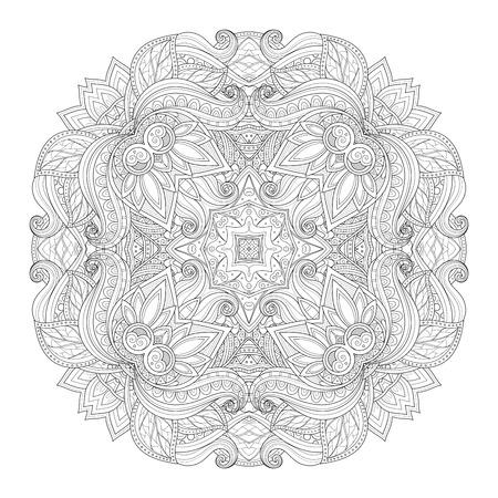 mendi: Vector Beautiful Deco Monochrome Contour Square, Patterned Design Element Illustration