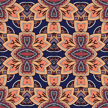 Vector Seamless Ornate Pattern. Hand Drawn Damask Texture, Vintage Style Vektoros illusztráció