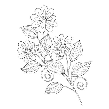 Vector Hermosa Monocromo Contour Flor, Diseño floral Elemento