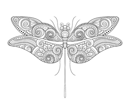 Vector Decorative Ornate Dragonfly. Monochrome Illustration of Exotic Insect. Patterned Design Element Illustration