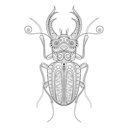 lucanus: Vector Decorative Ornate Beetly, Lucanus Cervus. Monochrome Illustration of Exotic Insect. Patterned Design Element