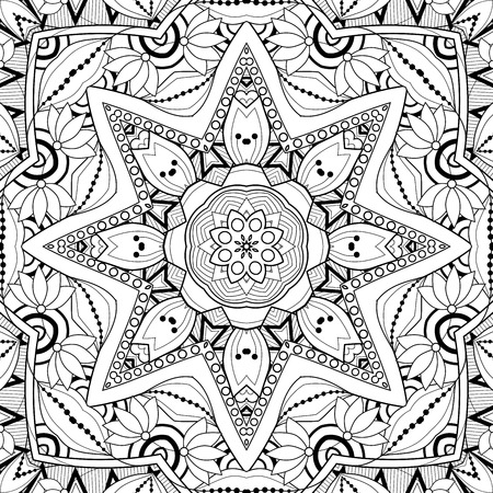 Vector Seamless Abstract Black and White Tribal Pattern. Hand Drawn Ethnic Texture, Flight of Imagination Imagens - 58431876