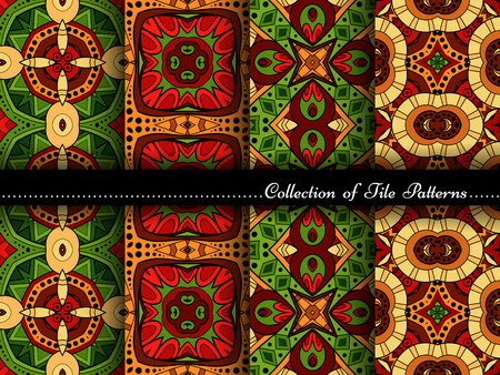 vitrage: Vector Collection of Seamless Vintage Patterns. Hand Drawn Tile Textures, Ethnic Ornaments, Abstract Seamless Textures Illustration