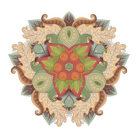 Vector Beautiful Deco Colored Triangle, Patterned Design Element, Original Mandala