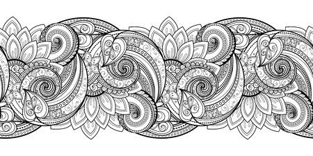 Motif Vector Seamless Monochrome Floral. Hand Drawn Floral Texture, Fleurs décoratives, Coloring Book. Dentelle florale pour votre conception Vecteurs