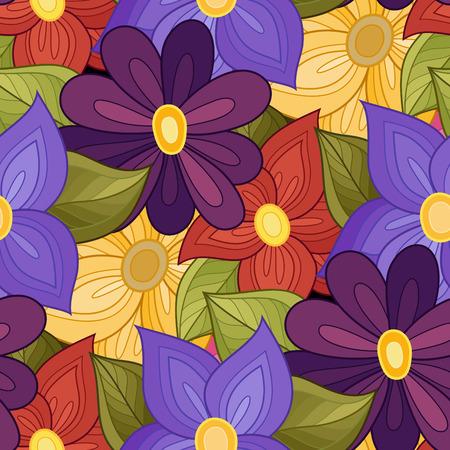 Nahtlose Blumenmuster. Hand gezeichnet Textur mit Blumen, Paisley-Garten-Art Vektorgrafik