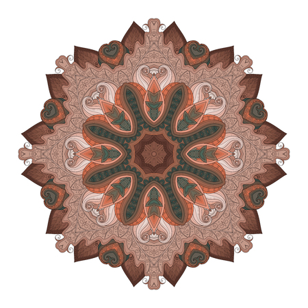Vector Beautiful Deco Colored contour Mandala, Patterned Design Element, Ethnic Amulet Illustration