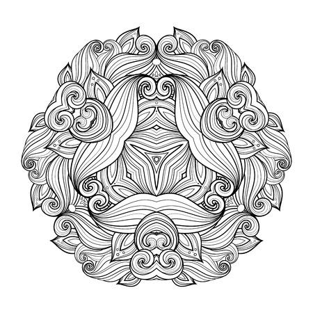 Vector Beautiful Deco Monochrome Triangle, Patterned Design Element, Original Mandala