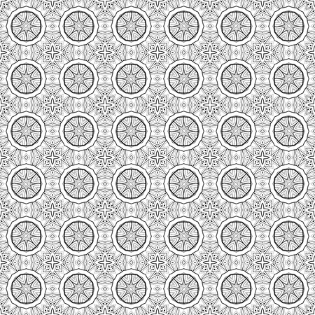 white tile: Vector Seamless Vintage Black and White Lace Pattern. Hand Drawn Tile Texture, Ethnic Ornament