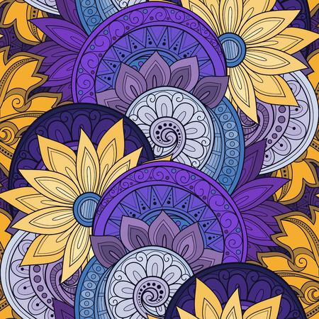 Motif floral sans soudure de vecteur. Texture dessiné à la main avec des fleurs, style jardin Paisley