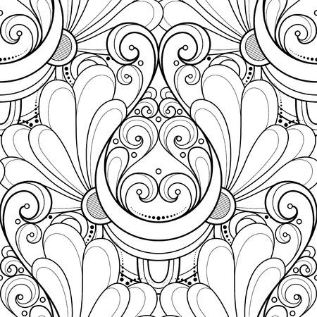 vitrage: Vector Seamless Monochrome Ornate Pattern. Hand Drawn Damask Texture, Vintage Style