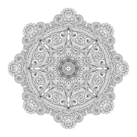 amulet: Vector Beautiful Deco Monochrome Contour Mandala, Patterned Design Element, Ethnic Amulet