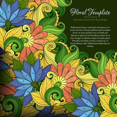 place for text: Vector Colored Floral Template with Place for Text. Abstract Flowers with Hand Drawn Ornament. Layout for Greeting Card, Cover Page etc. Clipping Mask Used for Editability