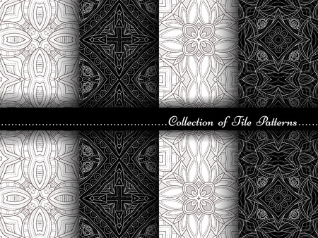 vitrage: Vector Collection of Black and White Seamless Vintage Patterns. Hand Drawn Tile Textures, Ethnic Ornaments, Abstract Seamless Textures Illustration