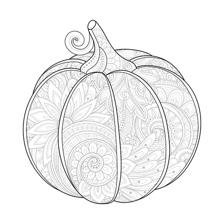 beautiful eating: Vector Monochrome Decorative Pumpkin with Beautiful Pattern. Eating Plant. Thanksgiving Holiday Symbol. Halloween Decorations