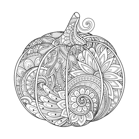 Vector Monochrome Decorative Pumpkin with Beautiful Pattern