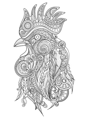 cock hand: Vector Ornate Cock Head. Patterned Tribal Monochrome Design. Symbol of the Year 2017 by Chinese Horoscope. Adult Coloring Book Page