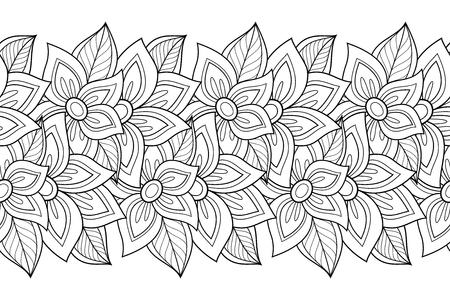 Vector Sin Patrón Floral Monocromo. Dibujado A Mano Textura Floral ...