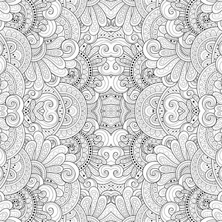 Vector Patrón tribal blanco y negro abstracto transparente. Textura étnica dibujada a mano, vuelo de la imaginación Ilustración de vector