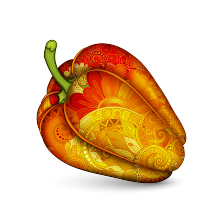 vegeterian: Vector Decorative Bell Pepper with Yellow and Red Beautiful Pattern. Eating Plant. Hand Drawn Ornate Vegetable. Vegan Diet, Vegeterian Food