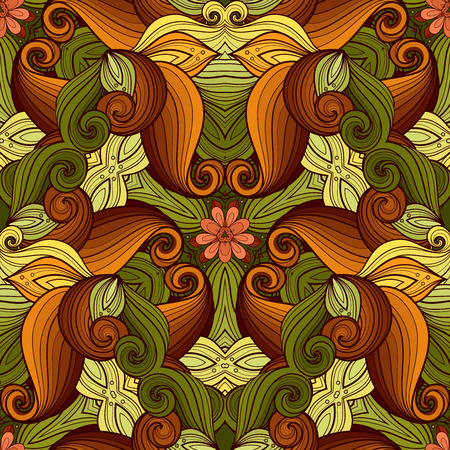 vitrage: Vector Seamless Colored Ornate Pattern. Hand Drawn Mandala Texture, Vintage Indian Style