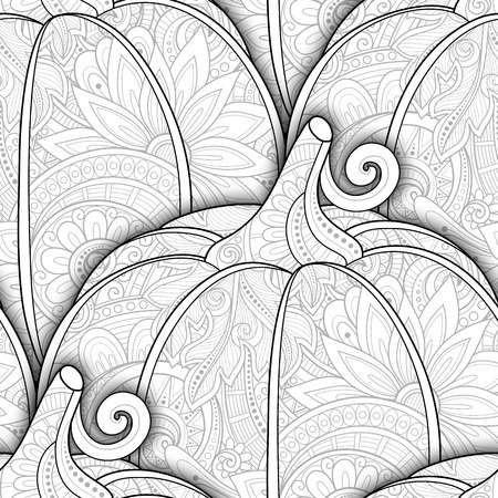 carotene: Vector Monochrome Seamless Pattern with Decorative Pumpkin. Eating Plant. Thanksgiving Holiday Symbol. Halloween Decorations Illustration
