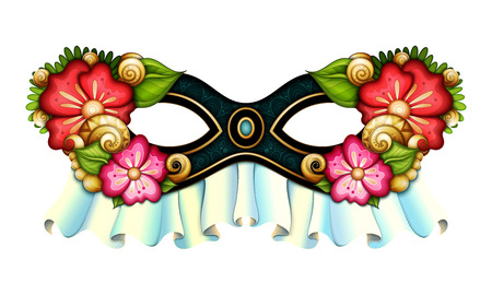 actress: Vector Ornate Mardi Gras Carnival Mask with Decorative Flowers. La Calavera Catrina Mask, Mexican Day of the Dead Object for Greeting Cards, Isolated on White Background. Halloween Costume