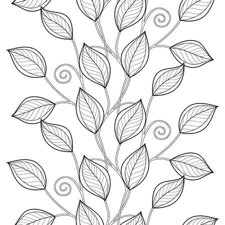 black branch: Vector Seamless Monochrome Floral Pattern. Hand Drawn Floral Texture, Decorative Flowers, Coloring Book. Floral Lace for Your Design