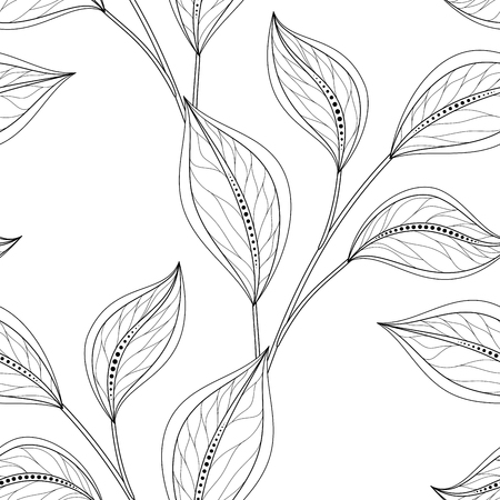 Vector Monochrome Seamless Floral Pattern. Hand Drawn Floral Texture, Decorative Leaves, Coloring Book